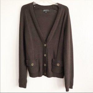 Jones New York Dark Brown Cardigan Sweater
